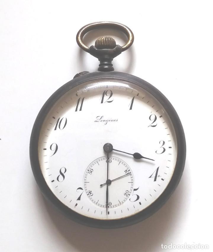 LONGINES RELOJ DE BOLSILLO AÑOS 20, HIERRO PAVONADO, FUNCIONA. MED. 5 CM SIN CONTAR TIJA (Relojes - Bolsillo Carga Manual)