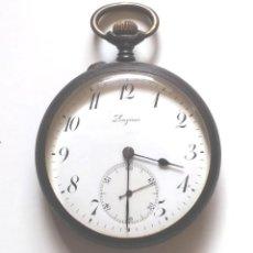 Relojes de bolsillo: LONGINES RELOJ DE BOLSILLO AÑOS 20, HIERRO PAVONADO, FUNCIONA. MED. 5 CM SIN CONTAR TIJA. Lote 196076550