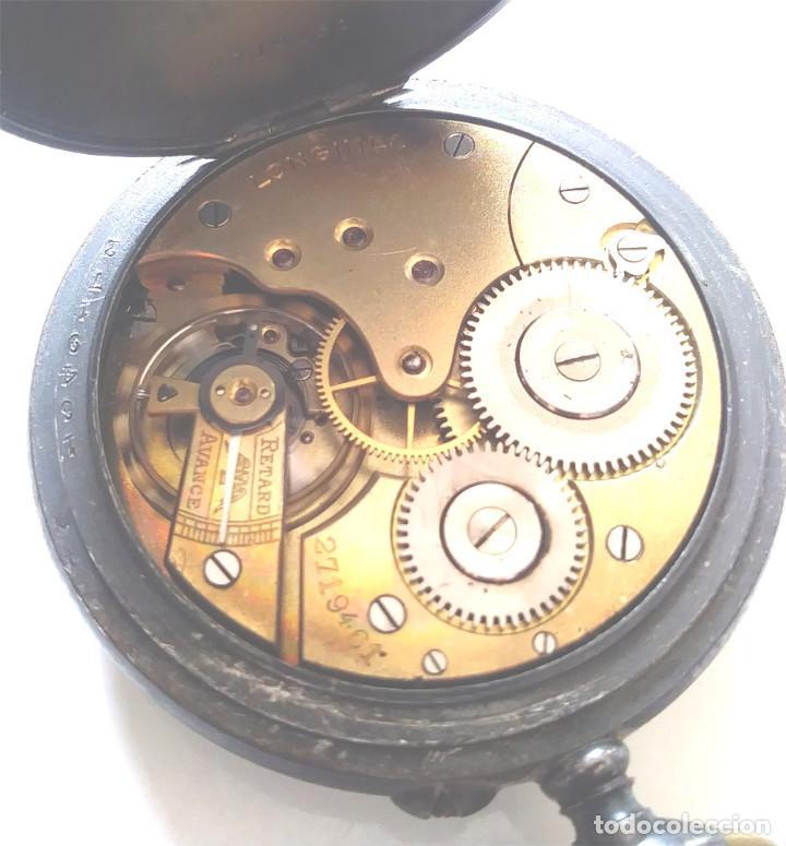 Relojes de bolsillo: Longines Reloj de Bolsillo años 20, hierro pavonado, funciona. Med. 5 cm sin contar tija - Foto 2 - 196076550