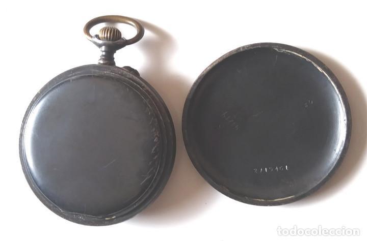 Relojes de bolsillo: Longines Reloj de Bolsillo años 20, hierro pavonado, funciona. Med. 5 cm sin contar tija - Foto 3 - 196076550