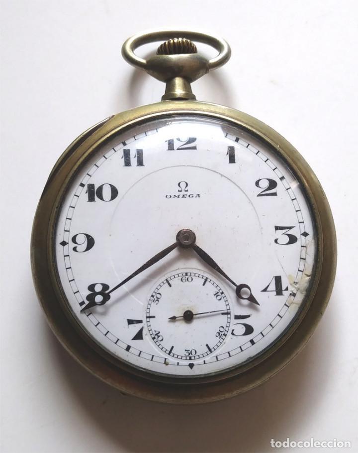 OMEGA RELOJ DE BOLSILLO AÑOS 20, 3 TAPAS BRONCE CROMADO, FUNCIONA. MED. 5 CM SIN CONTAR TIJA (Relojes - Bolsillo Carga Manual)