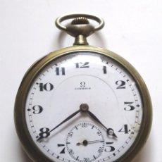Relojes de bolsillo: OMEGA RELOJ DE BOLSILLO AÑOS 20, 3 TAPAS BRONCE CROMADO, FUNCIONA. MED. 5 CM SIN CONTAR TIJA. Lote 196077510