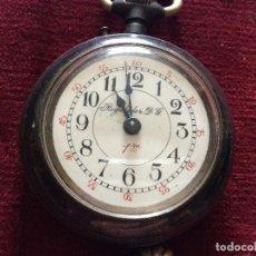 Relojes de bolsillo: ANTIGUO RELOJ DE BOLSILLO EN ACERO PAVONADO FUNCIONANDO. Lote 196163010