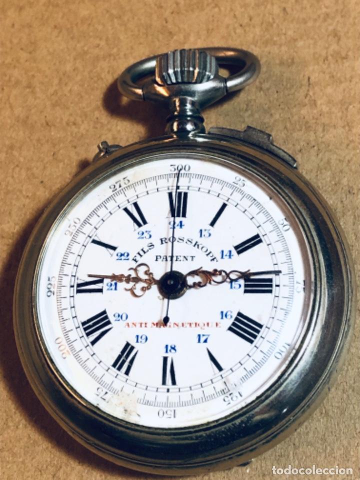 ROSSKOPF FILS CRONÓGRAFO. ROSKOPF SEGUNDERO CENTRAL. FUNCIONA. (Relojes - Bolsillo Carga Manual)