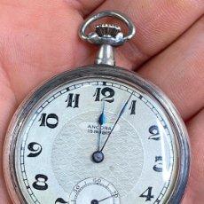 Relojes de bolsillo: ANTIGUIO RELOJ DE BOLSILLO A CUERDA ANCORA 15 RUBIS EN CAJA DE PLATA 800. Lote 199068506