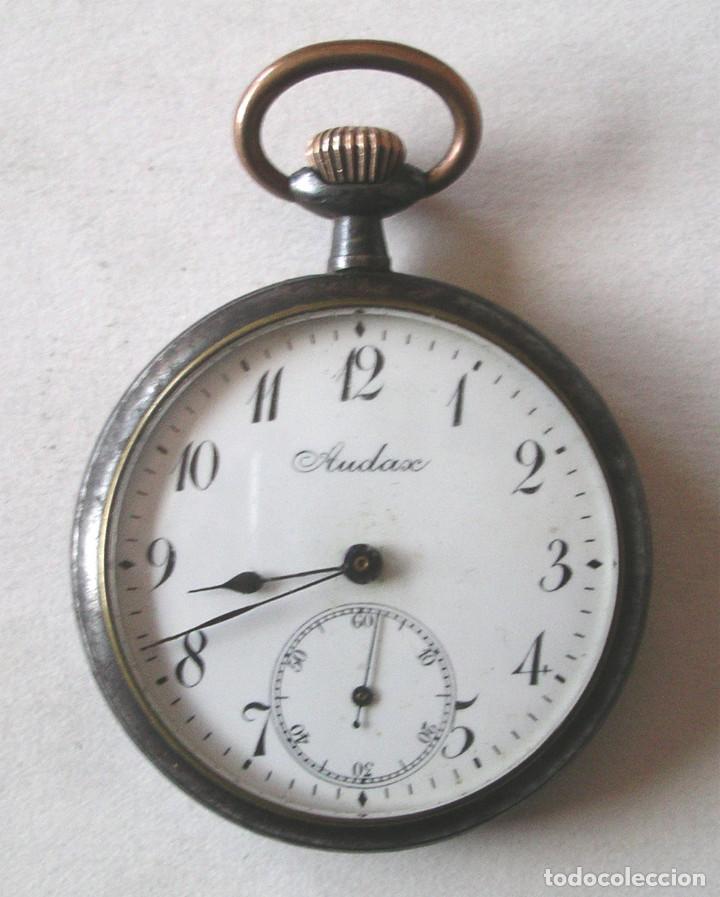 AUDAX RELOJ BOLSILLO, EXTRAPLANO, HIERRO PAVONADO, TODO DE ORIGEN. MED. 4,5 X 1 CM (Relojes - Bolsillo Carga Manual)