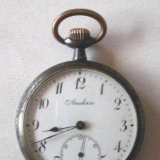 Relojes de bolsillo: AUDAX RELOJ BOLSILLO, EXTRAPLANO, HIERRO PAVONADO, TODO DE ORIGEN. MED. 4,5 X 1 CM. Lote 199178986