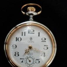 Relojes de bolsillo: RELOJ DE BOLSILLO-SUIZO - MARCA OLTEN - FILO BAÑO DE ORO. Lote 199246551
