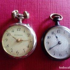 Relojes de bolsillo: DOS PEQUEÑOS RELOJES DE BOLSILLO PARA RECAMBIOS O REPARACIÓN. Lote 199798245