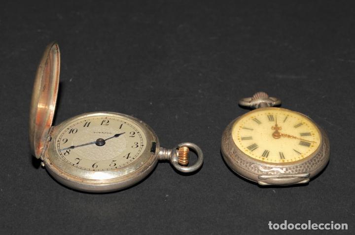 Relojes de bolsillo: PAREJA DE RELOJES DE BOLSILLO DE PLATA - UNO DE ELLOS TITANIA - Foto 3 - 200035917