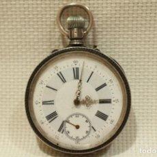Relojes de bolsillo: RELOJ DE BOLSILLO REMONTOIR DOBLE MESETA EN PLATA 800 CON 15 RUBÍES SUIZOS, FUNCIONANDO . Lote 200834730