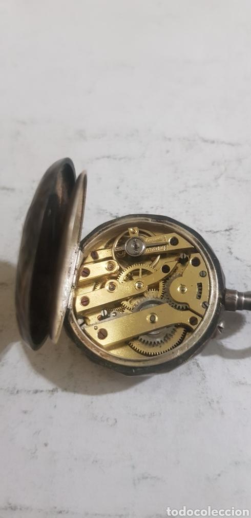 Relojes de bolsillo: Reloj de bolsillo en plata y oro funcionando - Foto 3 - 201161870