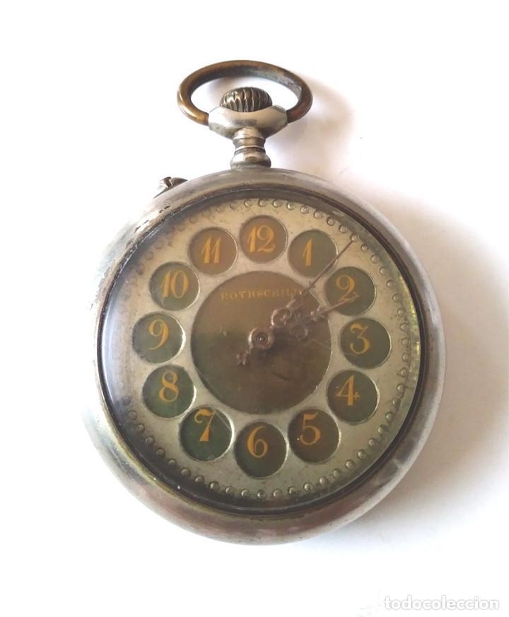 ROTSCHILD RELOJ BOLSILLO FUNCIONA, MAQUINARIA CINZELADA LENTE PROTECTORA CRISTAL (Relojes - Bolsillo Carga Manual)