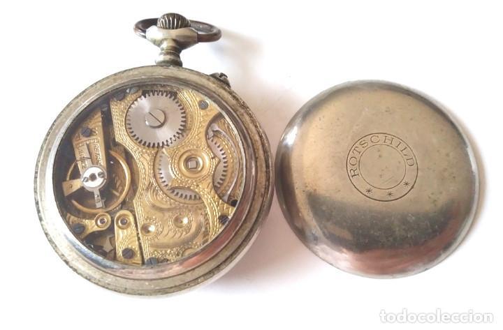 Relojes de bolsillo: Rotschild reloj Bolsillo funciona, maquinaria cinzelada lente protectora Cristal - Foto 3 - 201292200