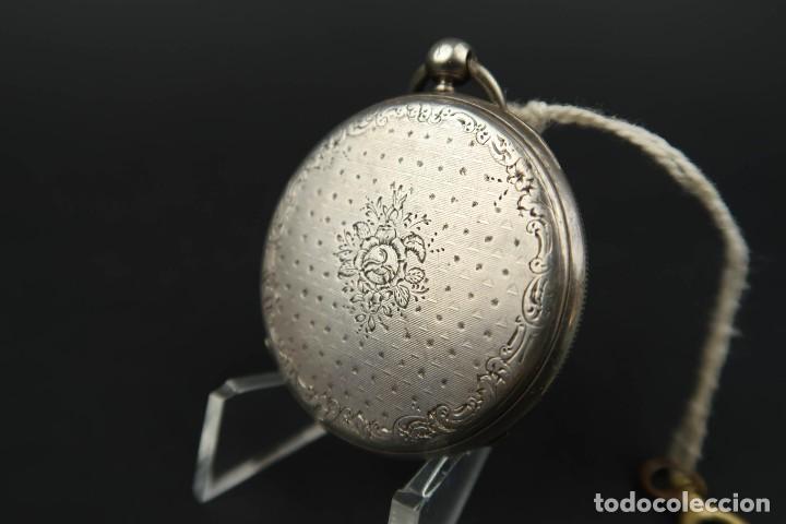 Relojes de bolsillo: Antiguo Reloj de Bolsillo de Plata - Foto 7 - 203052397