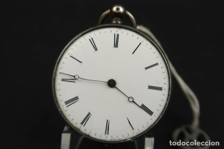 Relojes de bolsillo: Antiguo Reloj de Bolsillo de Plata - Foto 3 - 203052471