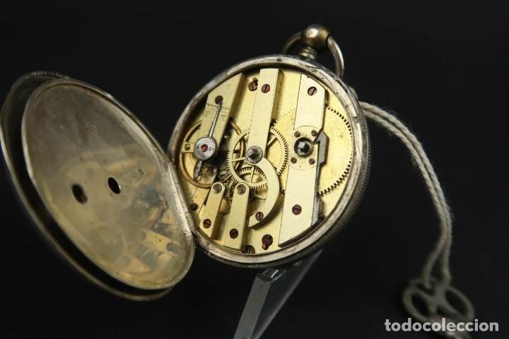 Relojes de bolsillo: Antiguo Reloj de Bolsillo de Plata - Foto 11 - 203052471