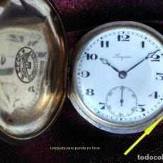 Relojes de bolsillo: ANTIGUO RELOJ BOLSILLO, LONGINES, PLATA Y 7 GRANDES PREMIOS. Lote 203901792