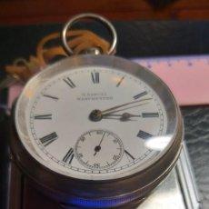 Relojes de bolsillo: EXTRAORDINARIO RELOJ BOLSILLO INGLÉS PLATA, BELLA MAQUINARIA SELLADA, VER FOTOS. Lote 204528166