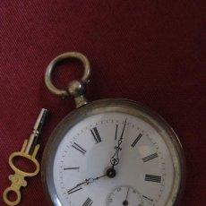 Relojes de bolsillo: ANTIGUO RELOJ SUIZO DE BOLSILLO MECÁNICO DE CUERDA MANUAL CON SU LLAVE AÑO 1850 / 1890 Y FUNCIONA. Lote 205834321