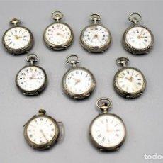 Relojes de bolsillo: GRAN LOTE 9 RELOJES DE BOLSILLO EN PLATA Y DETALLES EN ORO - AÑO 1850 A 1890- LOTE 259. Lote 206251340