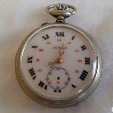 Relojes de bolsillo: RELOJ BOLSILLO AURORE CARGA MANUAL FUNCIONA BIEN . LE FALTA LA AGUJA .MIDE 45CM DIAMETRO. Lote 206431145