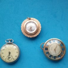 Relojes de bolsillo: LOTE DE 3 RELOJES COLGANTES BOLSILLO. MENTOR, CYMA Y BUCHERER. NO FUNCIONAN.. Lote 206529327