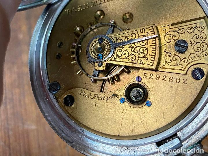 Relojes de bolsillo: Reloj de bolsillo con llave waltham mass funcionando - Foto 17 - 206932998
