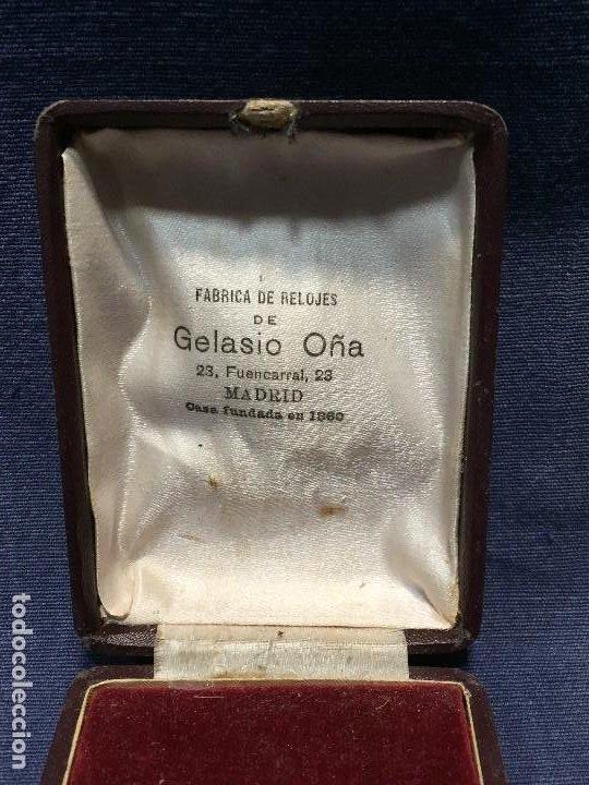 Relojes de bolsillo: CAJA RELOJ BOLSILLO FABRICA GELASIO OÑA MADRID CASA FUNDADA EN 1880 2,5X9X7CMS - Foto 2 - 206937427
