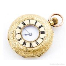 Relojes de bolsillo: H.W. RELOJ DE BOLSILLO-COLGAR, MEDIA SABONETA Y REMONTOIR. ORO 18K. SUIZA, CA. 1900. Lote 207104776