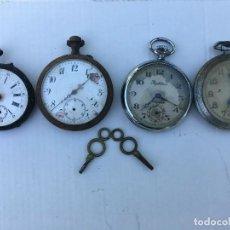 Relojes de bolsillo: LOTE DE 4 RELOJES BOLSILLO Y 2 LLAVES PARA RESTAURAR PIEZAS LOTE 259. Lote 208317046