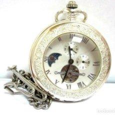 Relojes de bolsillo: IMPRESIONANTE RELOJ FASE LUNAR ESQUELETO LEONTINA Ø . 49 MM SABONETA SEMICAZADOR PLATA LEY. Lote 209166317