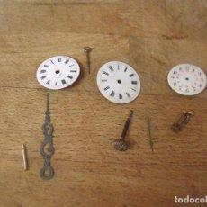 Relojes de bolsillo: 3 ESFERAS PORCELANA , AGUJA Y PIEZAS DE RELOJ BOLSILLO- LOTE 259. Lote 209274432