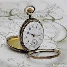 Relojes de bolsillo: RELOJ DE BOLSILLO DE PLATA BICOLOR-DE MONJA-CIRCA 1900-1910-FUNCIONANDO. Lote 209705023