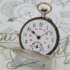 Relojes de bolsillo: RELOJ DE BOLSILLO DE MONJA-DE PLATA-CON 24 HORAS-SUIZO-CIRCA 1900-FUNCIONANDO. Lote 209786753