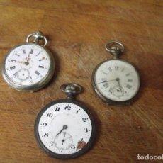 Relojes de bolsillo: ¡¡GRAN OFERTA!!3 RELOJES: 1 EN PLATA , 1 ARGENTAN, 1 ACERO RESTAURAR O PIEZAS- 1 FUNCIONA - LOTE 259. Lote 210015670