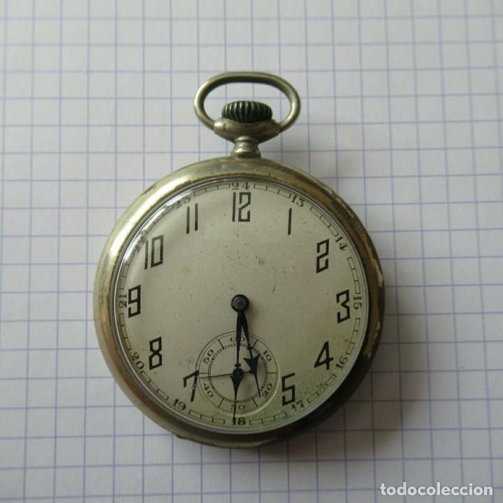 ANTIGUO RELOJ BOLSILLO EN ACERO- FUNCIONA-LOTE 259 (Relojes - Bolsillo Carga Manual)