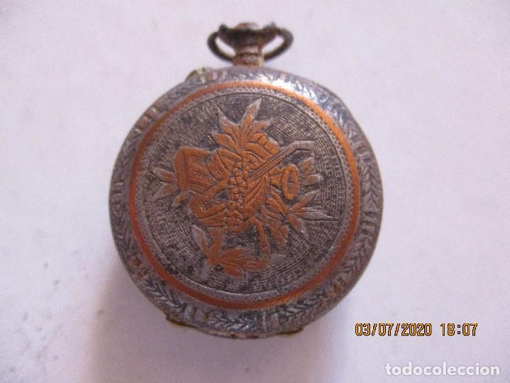 Relojes de bolsillo: reloj de bolsillo con motivos florales - Foto 2 - 210333730