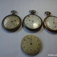 Relojes de bolsillo: MAGNIFICO 3 RELOJES DE BOLSILLO ANTIGUOS Y UNA MAQUINA. Lote 211987638