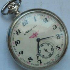 Relojes de bolsillo: ANTIGUO RELOJ DE BOLSILLO RUSO DE LA MARCA MOLNIJA CON UN GALEON EN RELIEVE AÑOS 60 18 RUBIES. Lote 212560416