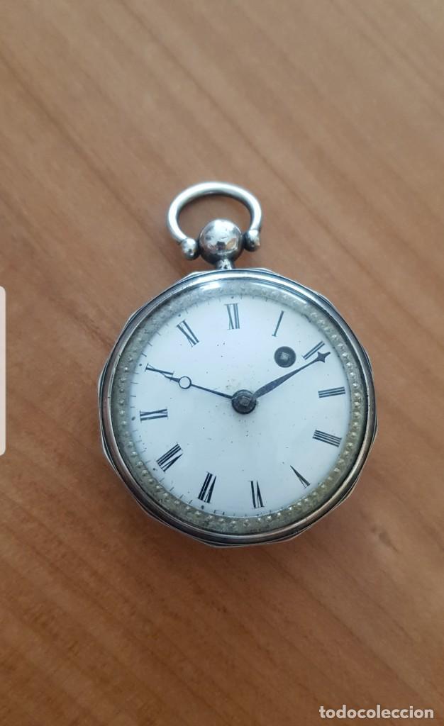 RELOJ CATALINA FORMA HEXAGONAL DE PLATA LABRADA CONTRASTADA BUEN ESTADO CIRCA 1820 1830 FUNCIONA (Relojes - Bolsillo Carga Manual)
