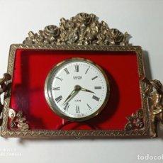 Relojes de bolsillo: ANTIGUO Y ORIGINAL Y ELEGANTE RELOJ DE SOBREMESA REALIZADO EN BRONCE CON ÁNGELES QUERUBINES. Lote 213611021