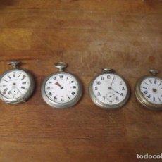 Relojes de bolsillo: GRAN LOTE 4 RELOJES DE BOLSILLO-3 EN PLATA- PARA RESTAURAR- LOTE 259. Lote 215226700