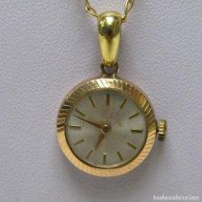Relojes de bolsillo: CADENA DE ORO 18K. CON RELOJ SUIZO DE COLGAR, RADIANT INCABLOC, LEPINE Y REMONTOIR. PPS. SIGLO XX.. Lote 215558947