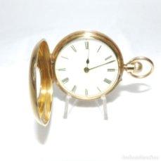 Relojes de bolsillo: LISTER & SONS, NEWCASTLE. RELOJ DE BOLSILLO PARA SEÑORA, MEDIA SABONETA, REMONTOIR. ORO 18K.. Lote 215559153