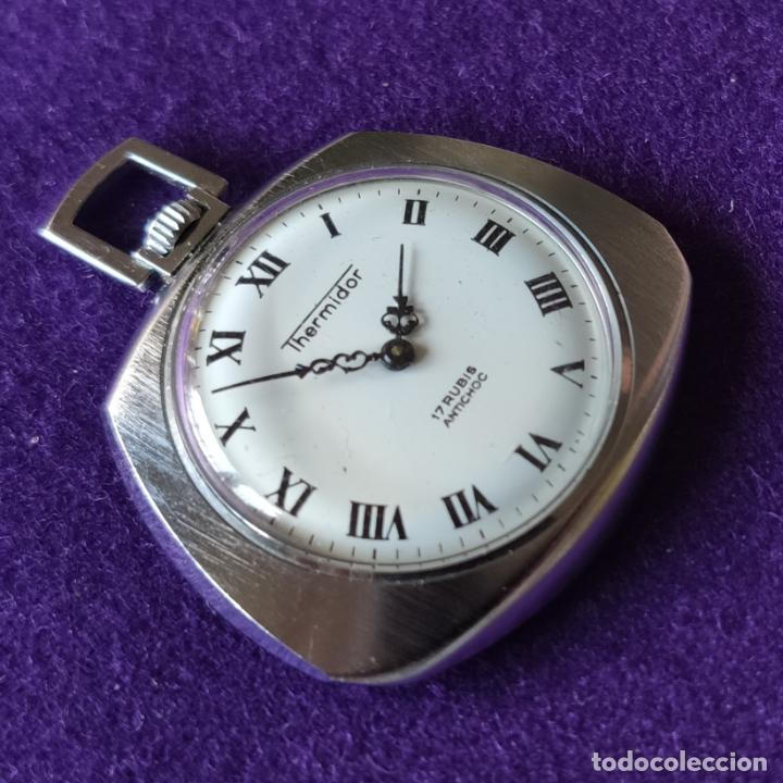 Relojes de bolsillo: ANTIGUO RELOJ DE BOLSILLO THERMIDOR. 17 RUBIS. SWISS. CARGA MANUAL-CUERDA. AÑOS 60. CABALLERO - Foto 3 - 216579741