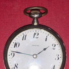 Relojes de bolsillo: RELOJ DE BOLSILLO MODERNISTA DE PLATA TRAVAIL.. Lote 217321221