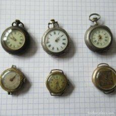 Relojes de bolsillo: GRAN LOTE DE 6 RELOJES DE BOLSILLO O BRAZALETE- 2 EN PLATA- RESTAURAR O PIEZAS-LOTE 259. Lote 218014310