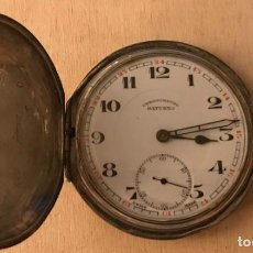 Relojes de bolsillo: RELOJ DE BOLSILLO PLATEADO CRONOMETRE SATURNO, CON TAPAS DECORADAS, HACIA 1920. Lote 218047955