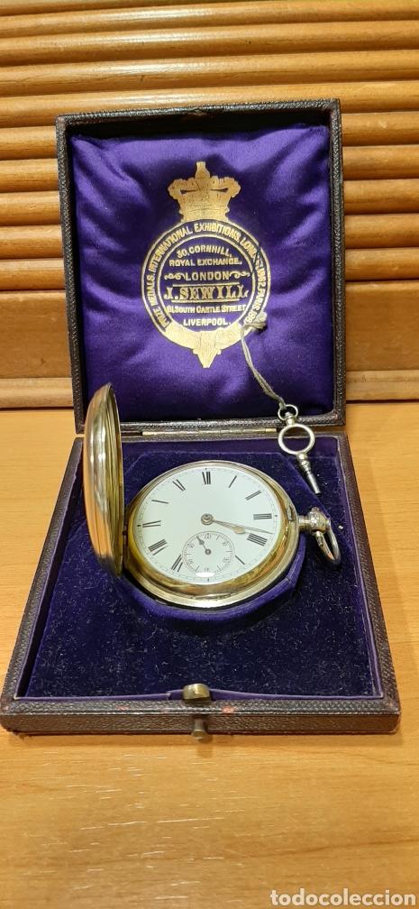 Relojes de bolsillo: RELOJ INGLÉS SEMICATALINO DE PLATA J. SEWILL, CON MARCAS, FUNCIONADO. - Foto 2 - 218187706